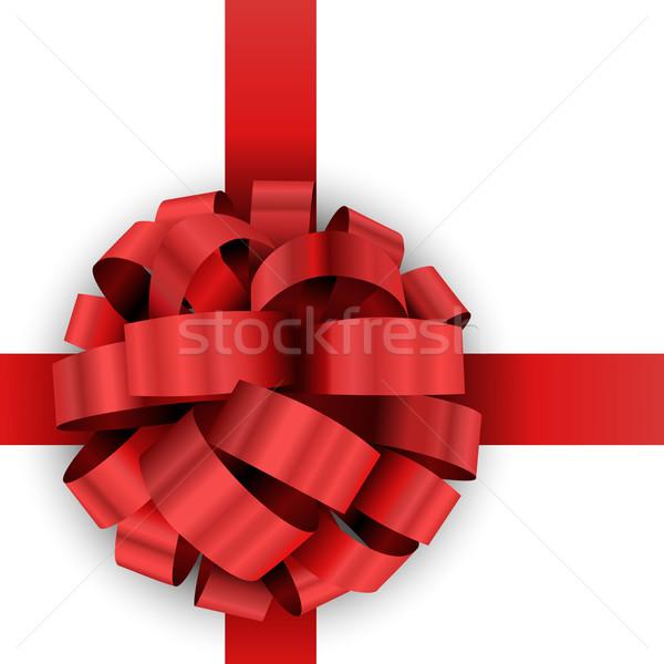 Christmas aanwezig Rood boeg vector sjabloon Stockfoto © tuulijumala