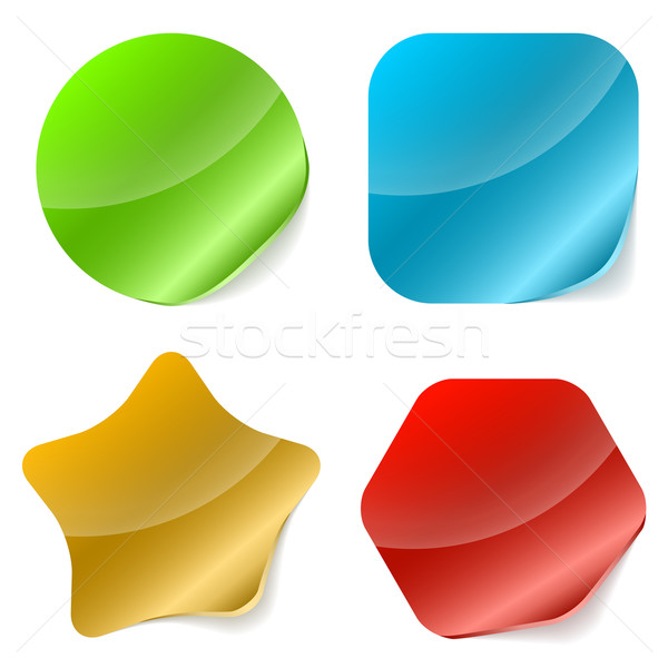 Color rounded blank stickers with curled edge vector illustratio Stock photo © tuulijumala
