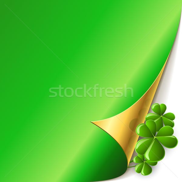 Verde página canto shamrock folhas dia de São Patricio Foto stock © tuulijumala