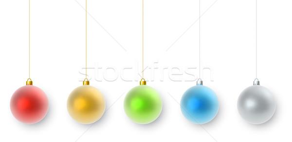 подвесной цвета Рождества украшения набор изолированный Сток-фото © tuulijumala