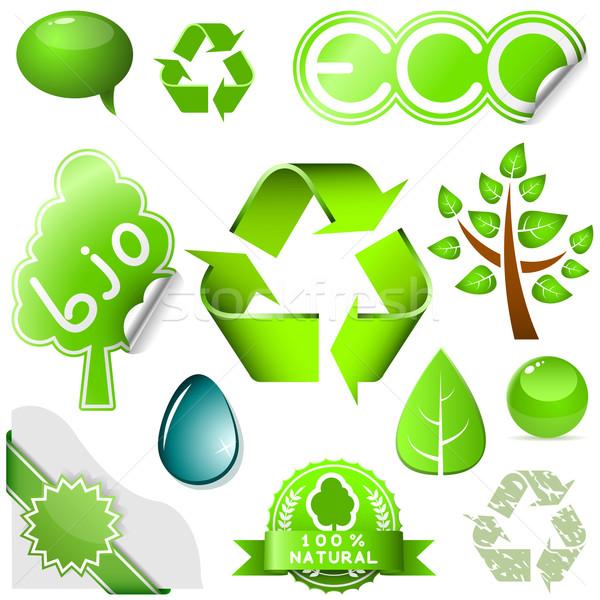 Vector set of environmental icons and labels isolated on white b Stock photo © tuulijumala