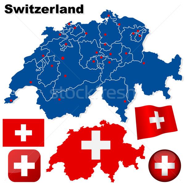 Stockfoto: Zwitserland · vector · ingesteld · gedetailleerd · land · vorm