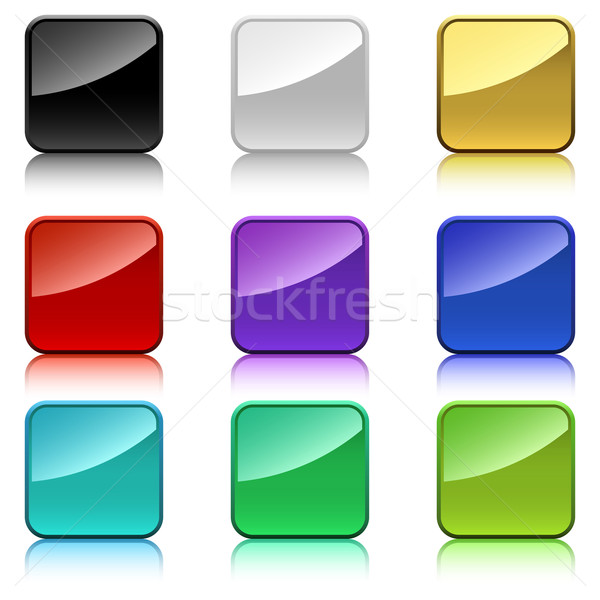Blank color square buttons with rounded corners. Stock photo © tuulijumala