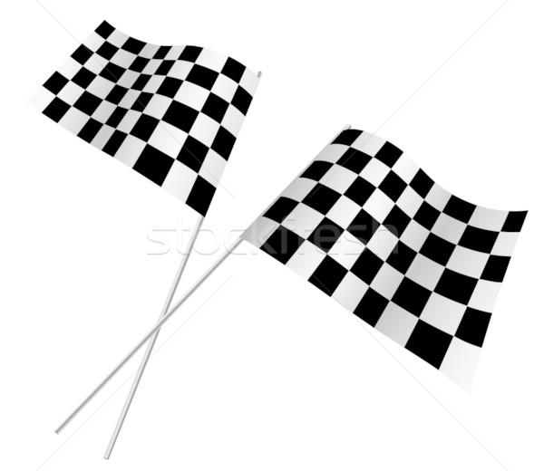 Wyścigi flagi odizolowany biały prędkości czarny Zdjęcia stock © tuulijumala
