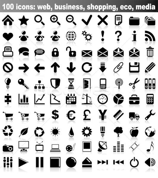 100 vector iconen web business financieren Stockfoto © tuulijumala