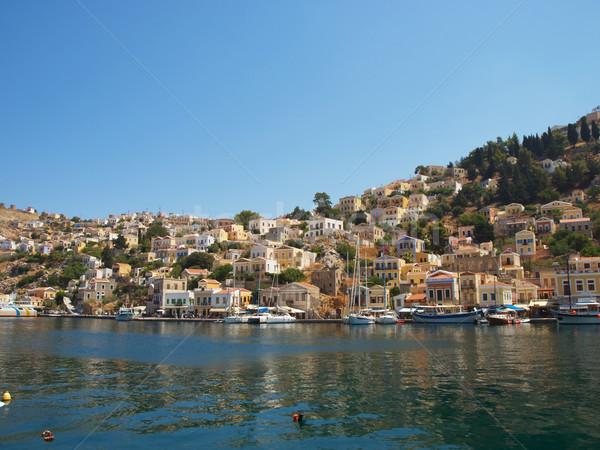 Stad meervoudig kleurrijk huizen Griekenland Stockfoto © tuulijumala