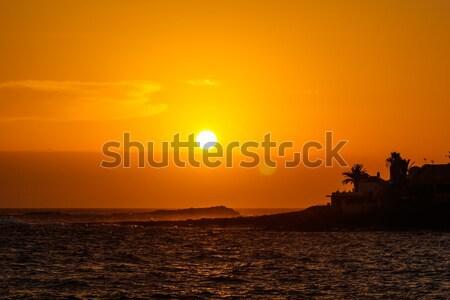 Beautiful orange sunset at Tenerife island Stock photo © tuulijumala