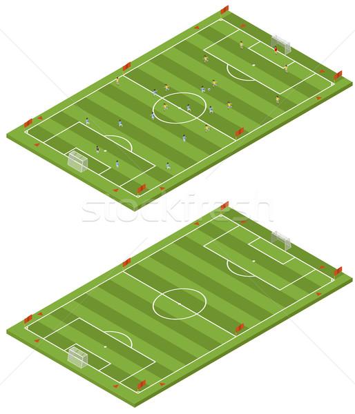 3D campo de fútbol plantilla hierba deporte Foto stock © tuulijumala