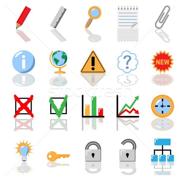 Textbook icons for print without gradients vector illustration. Stock photo © tuulijumala