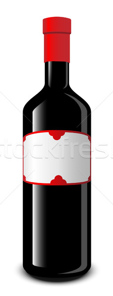 Wine bottle with blank label vector illustration. Stock photo © tuulijumala