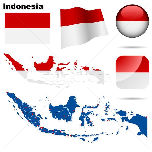 Stockfoto: Indonesië · vector · ingesteld · gedetailleerd · land · vorm