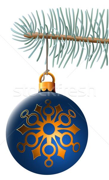 Stockfoto: Christmas · bal · opknoping · Blauw · sparren · tak