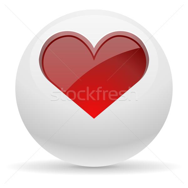 3D witte knop Rood hart abstract Stockfoto © tuulijumala