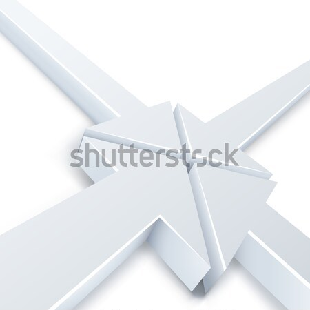 Abstract 3 white and 1 green arrows meeting in one point concept Stock photo © tuulijumala