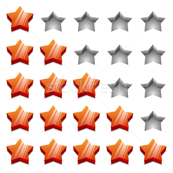 3D red ranking stars vector template isolated on white backgroun Stock photo © tuulijumala