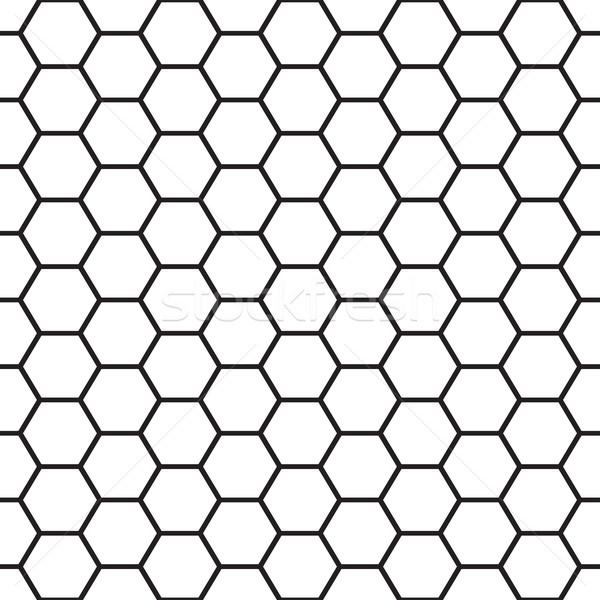 Black and white bee cells seamless vector pattern. Stock photo © tuulijumala