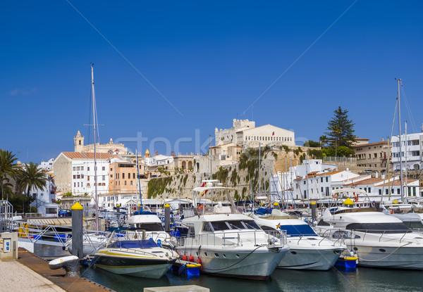 Old Ciutadella town harbour in sunny day. Menorca, Spain. Stock photo © tuulijumala