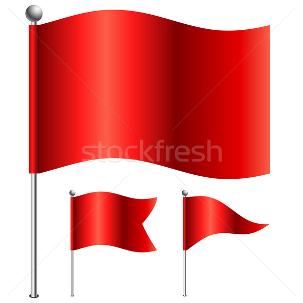 Red flags vector illustration with 3 shape variants. Stock photo © tuulijumala
