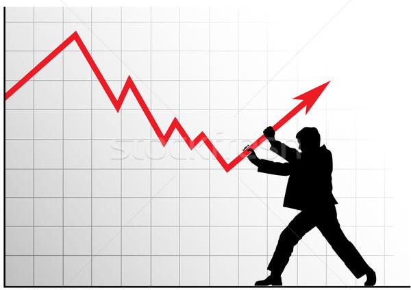 Stockfoto: Vector · afbeelding · man · voortvarend · grafiek · omhoog