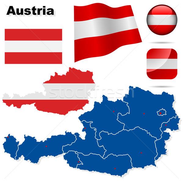 Stok fotoğraf: Avusturya · vektör · ayarlamak · ayrıntılı · ülke · biçim
