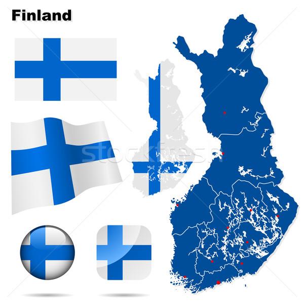 Сток-фото: Финляндия · вектора · набор · подробный · стране · форма