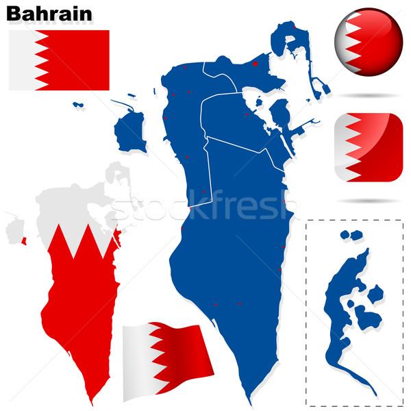 Бахрейн вектора набор подробный стране форма Сток-фото © tuulijumala