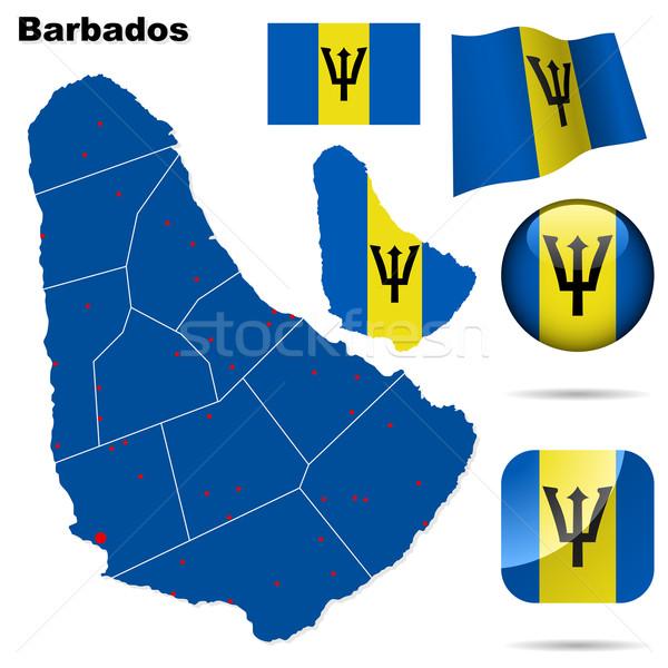 Stock fotó: Barbados · vektor · szett · részletes · vidék · forma
