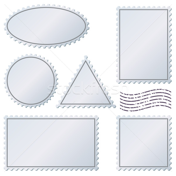 Blank postage stamps vector set isolated on white. Stock photo © tuulijumala