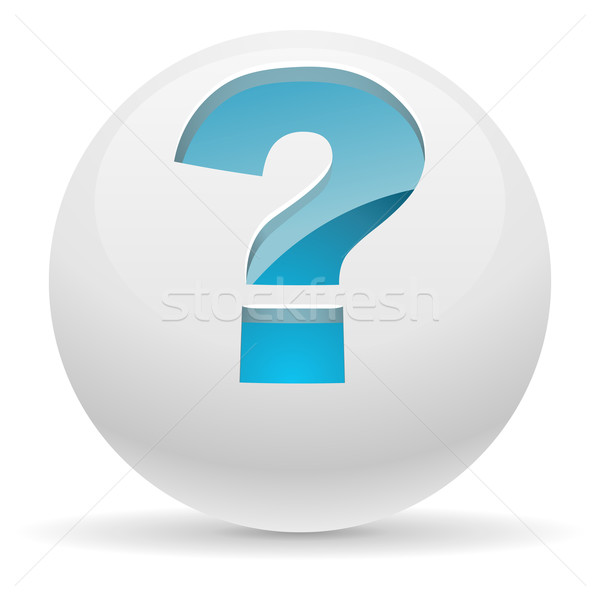 3D white button with blue question mark vector illustration. Hel Stock photo © tuulijumala