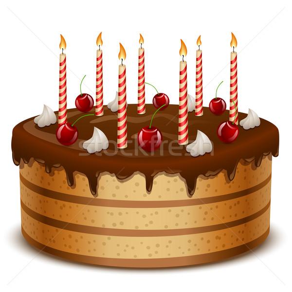 Birthday cake with candles isolated on white background vector i Stock photo © tuulijumala
