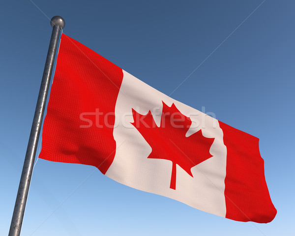 Canada national flag with blue sky in the background. Stock photo © tuulijumala