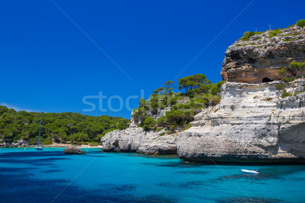 Cala Macarelleta beach cliffs at Menorca island, Spain. Stock photo © tuulijumala