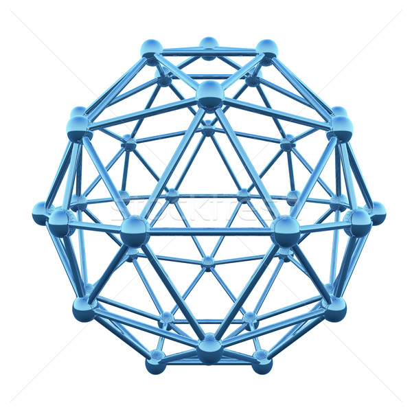 3D atom wireframe shpere cage isolated on white background. Stock photo © tuulijumala