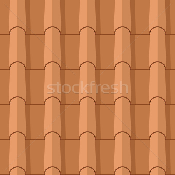 Seamless clay roofing tile flat vector texture.  Stock photo © tuulijumala