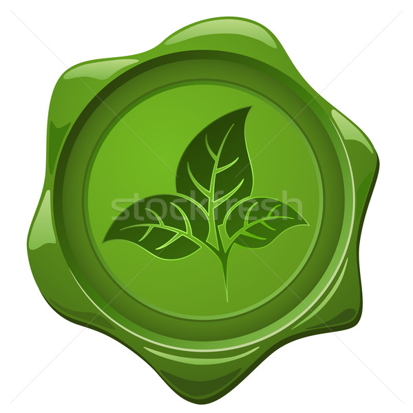 Eco sign. Green wax seal with leaves shape Stock photo © tuulijumala