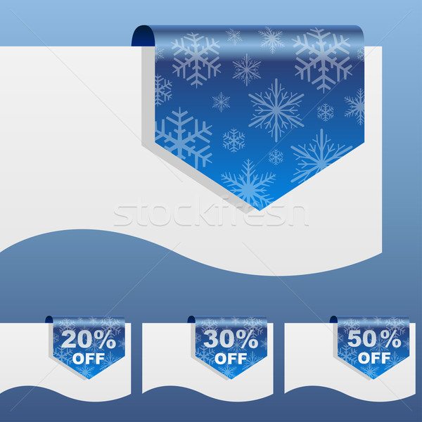 Winter sale discount labels bent around paper edge with snowflak Stock photo © tuulijumala