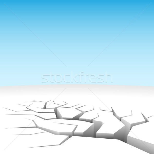 Stock photo: Vector illustration of abstract 3D land cleft isolated on white.