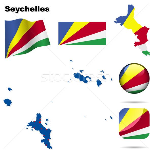 Seychellen vector ingesteld gedetailleerd land vorm Stockfoto © tuulijumala