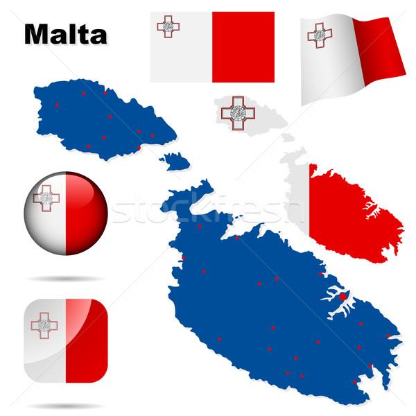 Malta vector ingesteld gedetailleerd land vorm Stockfoto © tuulijumala