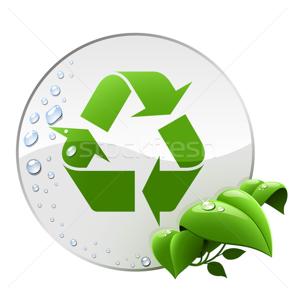 Round environmental label with recycling sign isolated on white. Stock photo © tuulijumala