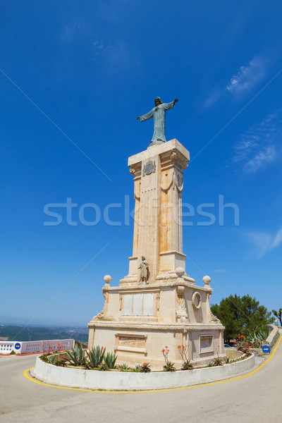 Statue of Jesus of the Sacred Heart at Menorca Island highest po Stock photo © tuulijumala