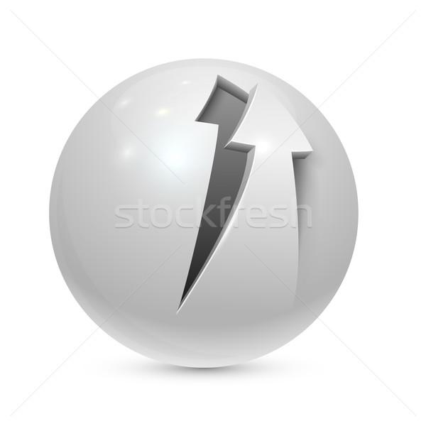 Bereich geschält arrow Symbol isoliert weiß Stock foto © tuulijumala
