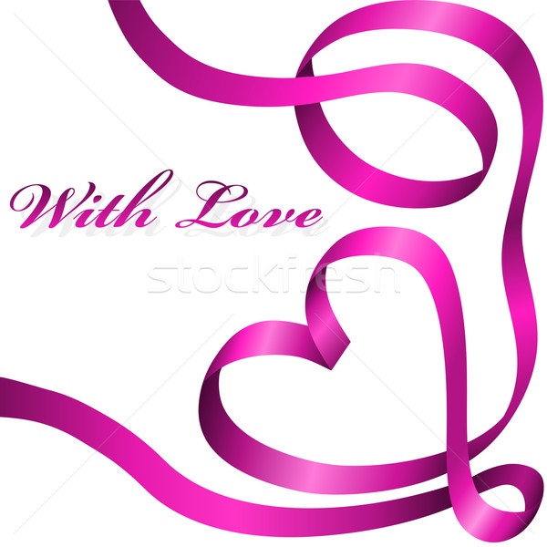 Pink decoration ribbon curled in heart shape isolated on white b Stock photo © tuulijumala