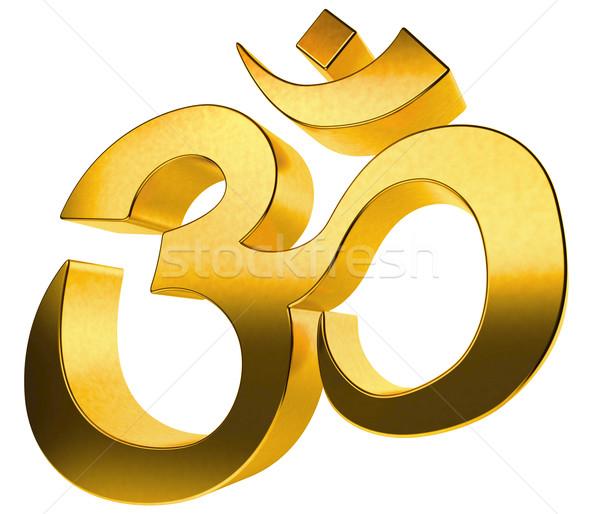 3D gold hindu sign isolated on white background. Stock photo © tuulijumala