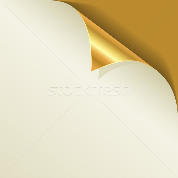 Golden page curl with shadow vector template. Stock photo © tuulijumala