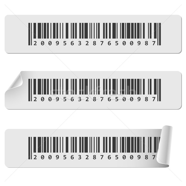 Horizontal white barcode sticker vector template. Stock photo © tuulijumala