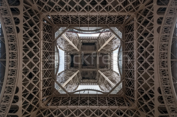 Eiffel tower bottom view industrial background Stock photo © tuulijumala
