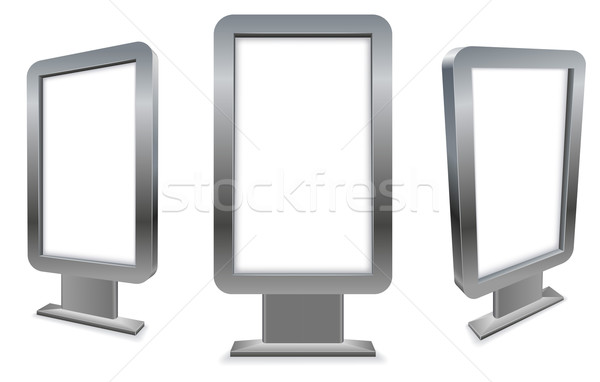 3D metal stand alone pavement advertising display isolated on wh Stock photo © tuulijumala