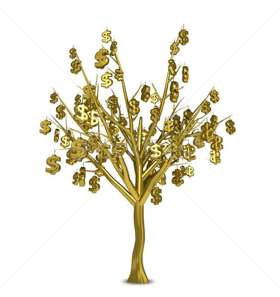 Gouden boom borden bladeren geïsoleerd witte Stockfoto © tuulijumala