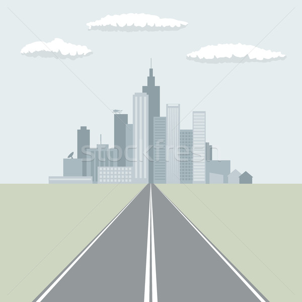 Straight road leading to the big city flat design vector illustr Stock photo © tuulijumala